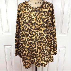 Susan Graver Long Sleeve 1/4 Button Leopard Blouse